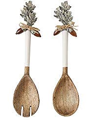 Mud Pie ENAMEL & WOOD ACORN SALAD SERVERS