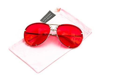 (Aviator Poshe Oceanic Lens Twirl Metal Design Frames Sunglasses (Red, 65))