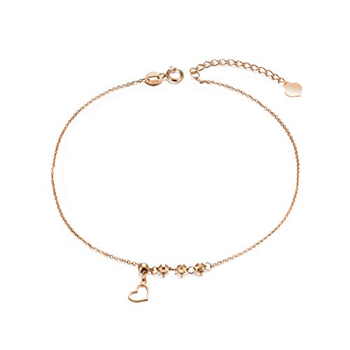 18k Gold Ankle Bracelets for Women, Real Rose Gold Anklet with Heart, Solid Gold Chain Anklet, 8.3