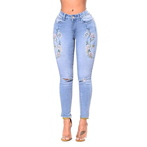 Vaqueros Delgado Agujeros Alta Ropa Casuales Lápiz Las Frontales Pantalones Mujeres Cintura Bordados De Blau Ajustados TnwIRqAxf