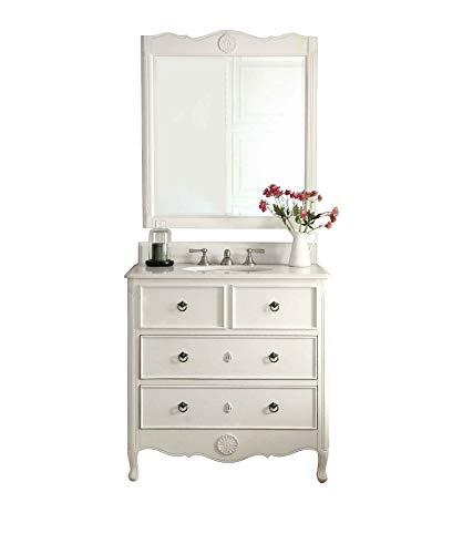 "Cheap 34"" Cottage look Daleville Bathroom Sink vanity & Mirror Set – HF-081AW-MIR (Antique White)"
