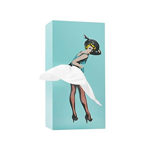 WHAT ON EARTH Pin Up Girl Tissue Box Cover - Vintage Lady with Flying Skirt Napkin Dispenser - Mint
