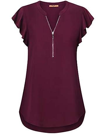39bd95d4d677 MCKOL Women's Chiffon Blouses,Casual V Neck Short Sleeve Zip Up Top Shirts