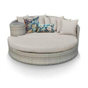 (JumpingLight TKC Fairmont Round Patio Wicker Daybed in Beige Durable and Ideal for Patio and Backyard)