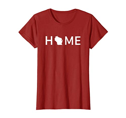 Womens Home In Wisconsin Love U.S. State Outline Silhouette T-Shirt Large Cranberry