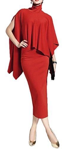Blansdi Women 2 Pieces Turtleneck Cloak Cape Tops Bodycon Midi Skirt Suit Set Outfits Red M