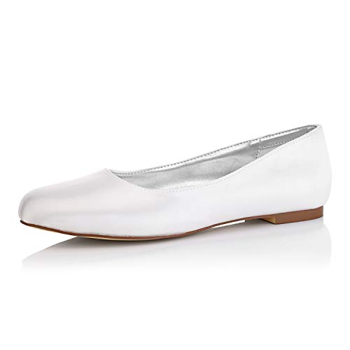 JIAJIA K5371 Women's Bridal Shoes Closed Toe Dyeable Satin Flats Wedding Shoes Color Ivory,Size 9 B(M) US/40 EU