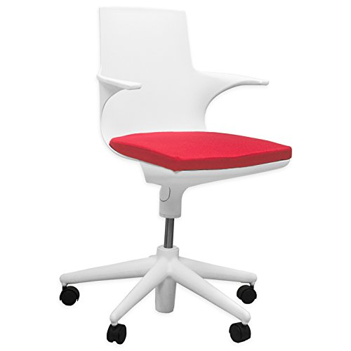 Mod Made Jaden Swivel Office Chair Adjustable Height, White/Red by Mod Made