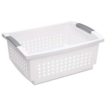 Sterilite 16648006 Large White Stacking Basket with Titanium Accents, 6-Pack
