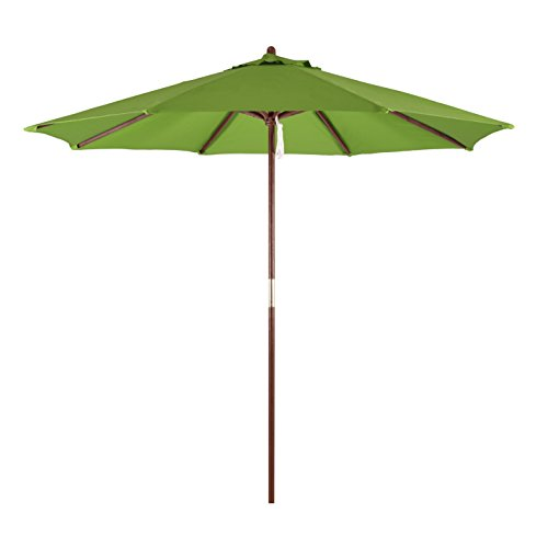 (California Umbrella 9' Round Hardwood Frame Market Umbrella, Pulley Lift, Polyester Lime)