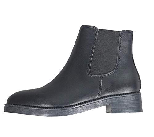 Brinny Femme Bottines Chelsea Bootes A Talon Bas En Cuir Court Botte Automne Hiver Antidérapant Cheville Boots Bloc 3cm Noir