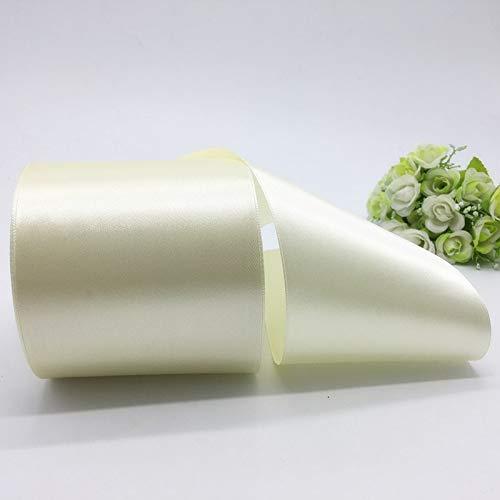 5Yards Large 4In Satin Ribbon for Crafts-Satin Ribbon for Wedding-Satin Ribbons for Decoration-Satin Ribbons for Dressmaking-Satin Ribbon Gift Wrap-DIY Satin Ribbon Bows Multi Color (Cream)