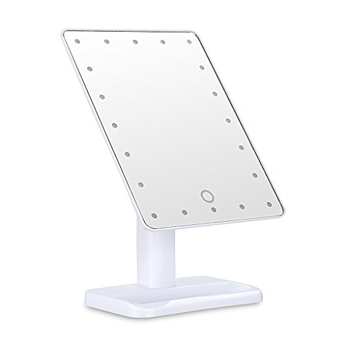 Ovonni L207 20 LEDs Touch Screen Makeup Mirror Adjustable LED Tabletop Countertop Lighted Make-up Cosmetic Vanity Mirror (Batteries Included), White
