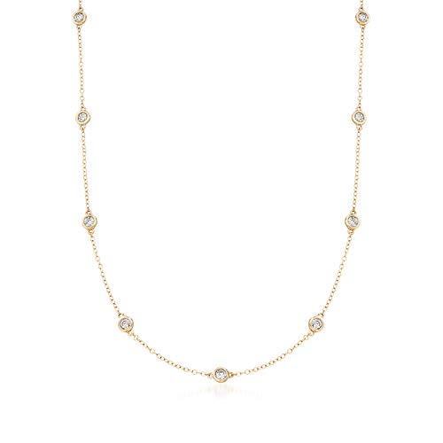 (Ross-Simons 1.00-2.00 ct. t.w. Bezel-Set Diamond Station Necklace in 14kt Yellow Gold)