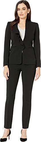 Tahari by ASL Women's Pebble Crepe Ruffle Pants Suit Black 6