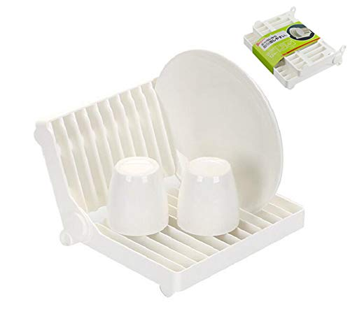 Foldable Dish Drying Rack Holder, ReachTop Multipurpose Dish Drainer Plastic Sink Dish Rack For Home Kitchen, Hold up to 12 Plates, White
