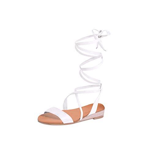 DREAM PAIRS Women's Formosa_3 White Low Platform Wedges Mid Calf Tie Up Sandals Size 5.5 B(M) US (Wrap Around Ankle Strap)