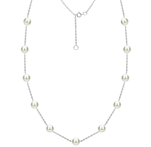 14k White Gold 7-7.5mm White Freshwater Cultured Pearl Chain Station Necklace, 18