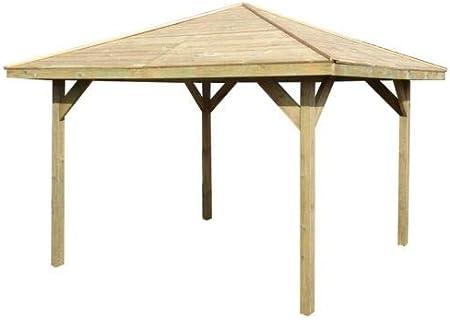 Pérgola de madera con un diseño de cenador para el jardín o para el jacuzzi, de 2, 7 m x 2, 7 m y una medida exterior de 3, 2 m x 3, 2 m: Amazon.es: Jardín