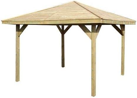 Pérgola de madera con un diseño de cenador para el jardín o para el jacuzzi, de 2,7 mx 2,7 my una medida exterior de 3,2 mx 3,2 m