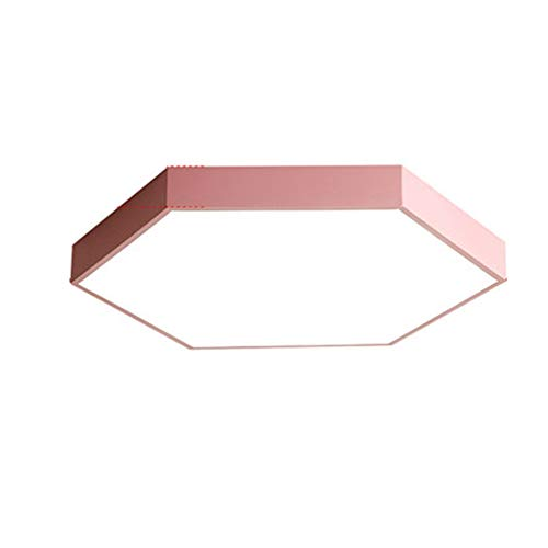 Hexagon Flush - VinDeng Hexagon Ultra-Thin LED Ceiling Light Flush Mount, 48W 24 inch Colorful Metal Ceiling lamp Modern with Acrylic for Living Room-Pink Warm White