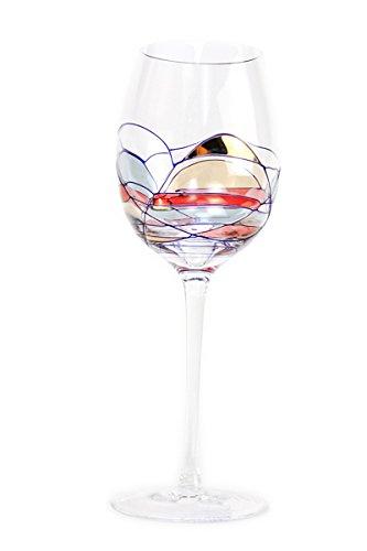 Glass Cobalt Design - Set Of Two (2) - Romanian Crystal Barware - Cobalt Blue Swirl/Stained Glass Pattern - Milano Design - 16 Oz Oversized White Wine Glasses