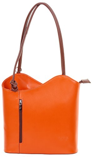 Orange Leather Handbag - 8