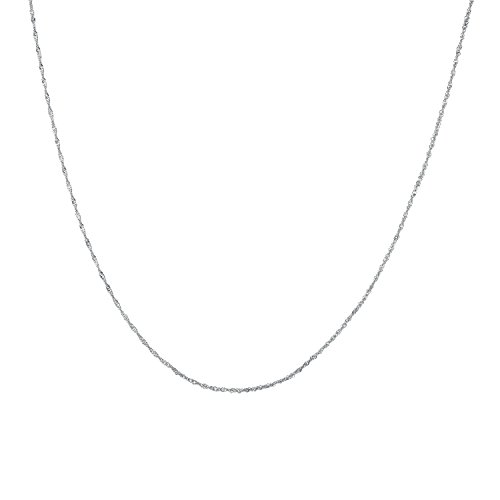 925 Solid Sterling Silver Diamond Cut 1.5MM TWISTED CURB,SINGAPORE Chain Necklace MADE IN ITALY- Thin,silky and SUPER Strong and Rhodium Plated 20'' Inch