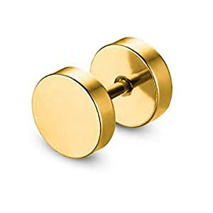 KaLaiXing Fashion Men Titanium Steel Stud Earrings 8 Different Sizes Earrings Set. 3 mm to 10 mm, 8 Pairs-gold