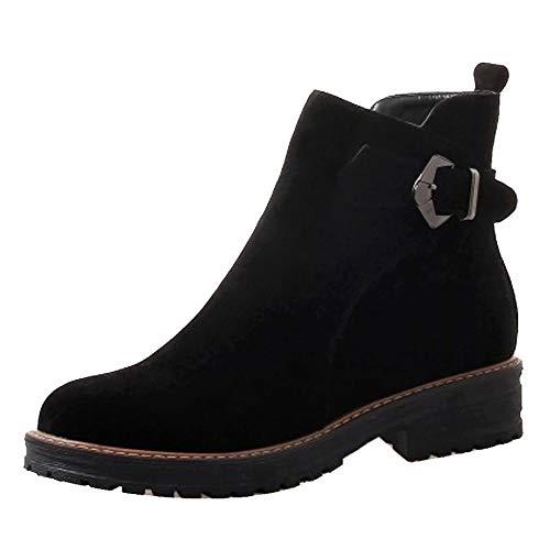 Low Zipper Heel Boots Fashion Ankle Women Black Coolcept vSw1aqBWE
