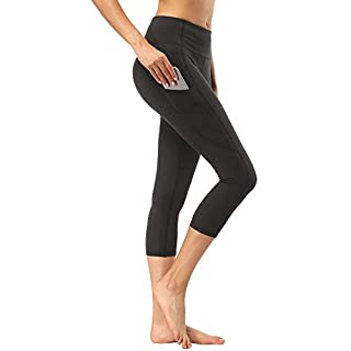adorence 3/4 Capris High Waist Yoga Pants for Women with Side Pockets Black