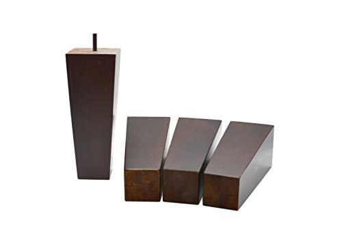 8 Inch Wood Furniture Legs Squared Tapered Finish, Set of 4. Great Sofa Legs with Mid-Century Modern Style, IKEA Conversion Kit Also Suitable for Coffee Table and Bed Legs.