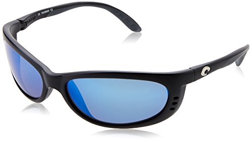Costa del Mar Men's Fathom Polarized Iridium Oval Sunglasses, Matte Black Frame Blue Mirror Glass - W580, 60.5 - Glasses Black Joe