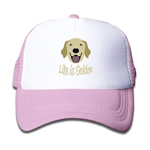 Kid's Life is Golden (Golden Retriever) Trucker Baseball Cap Adjustable Mesh Hat Girl Boy