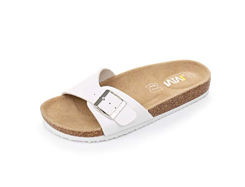 Women's Slide Flat Cork Sandals with Adjustable Strap Buckle Open Toe Slippers Suede Sole (US 8, White)