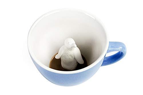 CREATURE CUPS Penguin Ceramic Cup (11 Ounce, Ice Blue) | Hidden Animal Inside | Coffee mugs & Tea cups | Antarctica