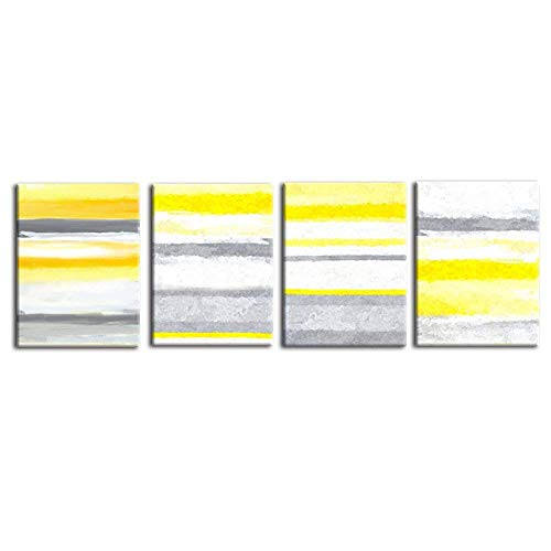 VIIVEI Yellow and Gray Abstract Geometric Canvas Wall Art Painting 4 Pcs Wooden Frame Creative Nordic Mural Picture Background Ornaments for Home Decor Gifts (16