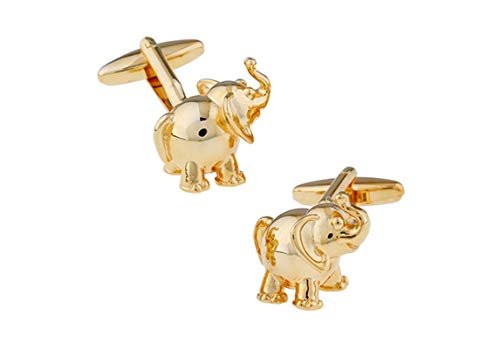 Adisaer Cufflinks Gold Elephant Cufflinks for Men Unique Wedding Business Gift