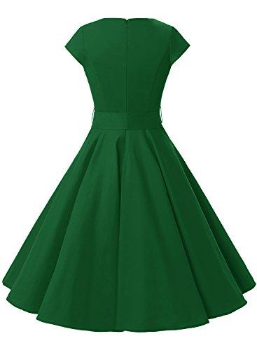 Dressystar Green 50s Vestidos Rockabilly Corta 60s Mujer Vintage Coctel Elegante Corto Army Manga H7HOqxBrTw