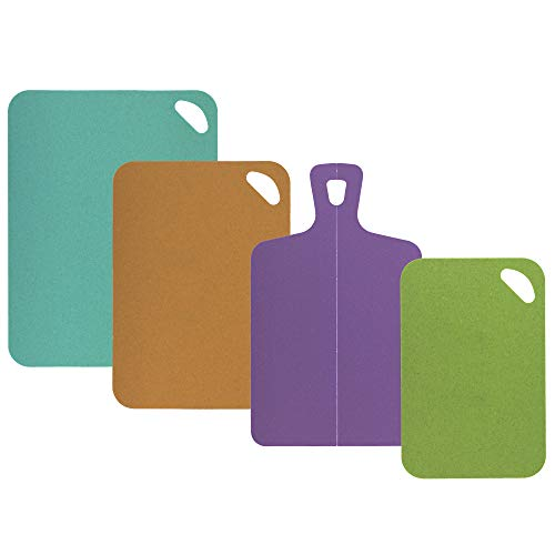 Totally Bamboo Eco-Culinaire 4-Piece Flexible Cutting Mat Set, Made with Bamboo/Poly Composite