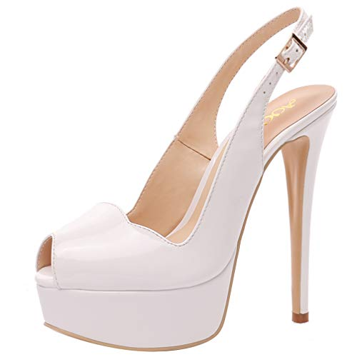 AOOAR Women's Slingback High Heels with Platform White Patent Party Pumps 11 M US ()