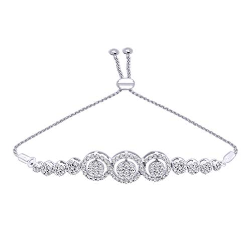 OMEGA JEWELLERY 10K Solid Gold Round Cut Natural Diamond Halo Cluster Bolo Bracelet (0.85 Ct) (White-Gold)
