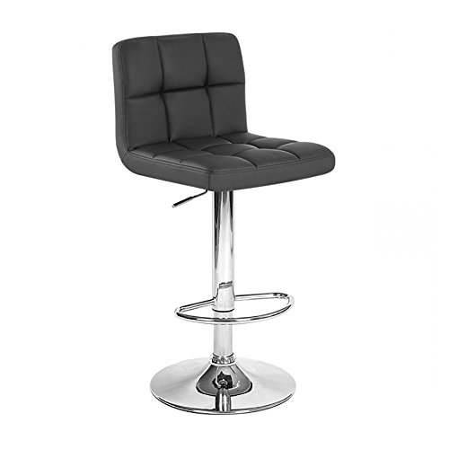 Roundhill Furniture Swivel Black Bonded Leather Adjustable Hydraulic Bar Stool, Set of 2 ()