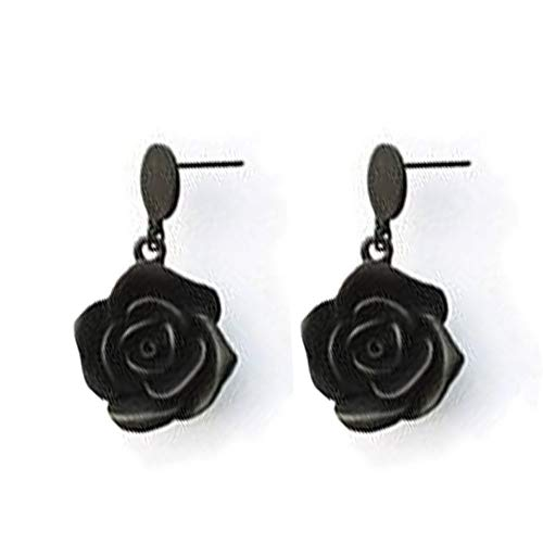 i&D Jewelry Gold Plated Rose Flower Earrings Black Flowers Dangle Drop Earrings Bridesmaid Gift for Women (Black)