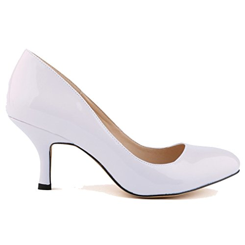 Sport White Patent Leather (Xianshu Womens Patent Leather Round Toe High Heel Shoes Shallow Mouth Pumps(White-37))