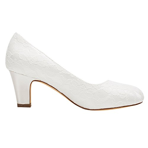 mariée Soie Emily Heel Femmes Bridal Stiletto Closed Pompes Comme chaussures Satin Ivoire Toe de qwCtR1w
