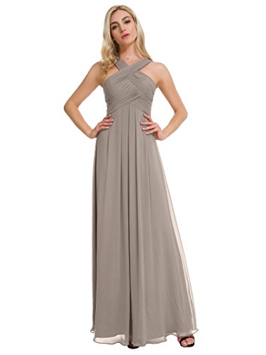 Alicepub Pleated Chiffon Bridesmaid Dresses Formal Party Evening Gown Maxi Dress for Women, Taupe, US2
