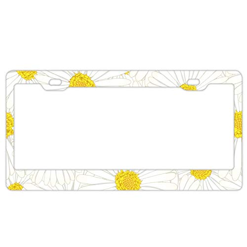 GREDBH Aluminum License Plate White Aster Daisy Flower- License Plate, Front License Plate, Vanity Tag ()