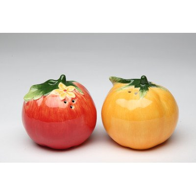 Pair of Round Red & Yellow Tomatoes Salt & Pepper Shakers
