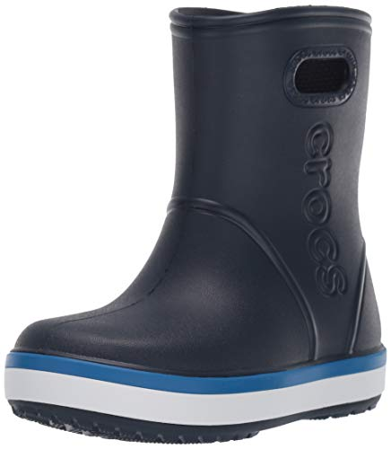Crocs Kids' Crocband Rain Boot | Easy Slip On for Toddlers | Lightweight and Waterproof, Navy/Bright Cobalt, 2 M US Little Kid (Size Boots 2 Rain Kids)
